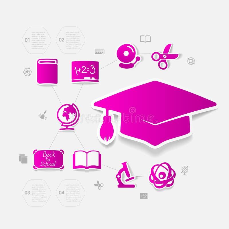 Αυτοκόλλητη ετικέττα εκπαίδευσης infographic απεικόνιση αποθεμάτων