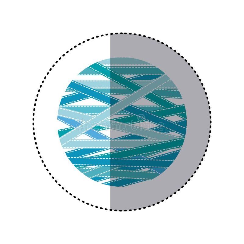 αυτοκόλλητη ετικέττα που σκιάζει τη ζωηρόχρωμη γη σφαιρών με τις υφαντικές γραμμές διανυσματική απεικόνιση