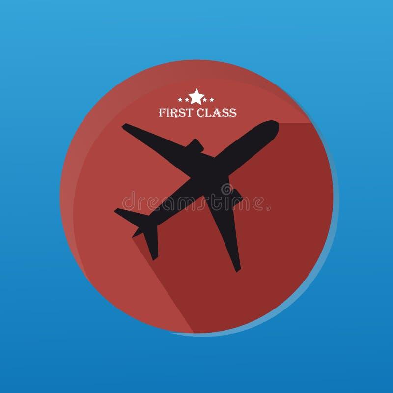 Αυτοκόλλητη ετικέττα σκιαγραφιών αεροπλάνων με το επίπεδο κουμπί και με τη μακριά σκιά ελεύθερη απεικόνιση δικαιώματος
