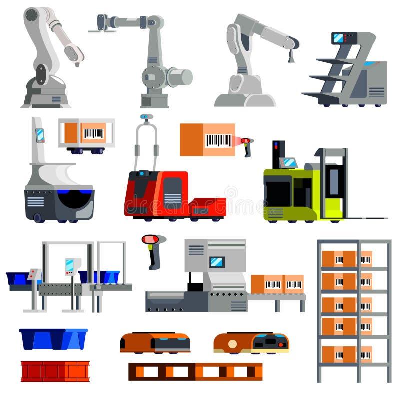 Αυτοματοποιημένα επίπεδα εικονίδια εξοπλισμού αποθηκών εμπορευμάτων ελεύθερη απεικόνιση δικαιώματος