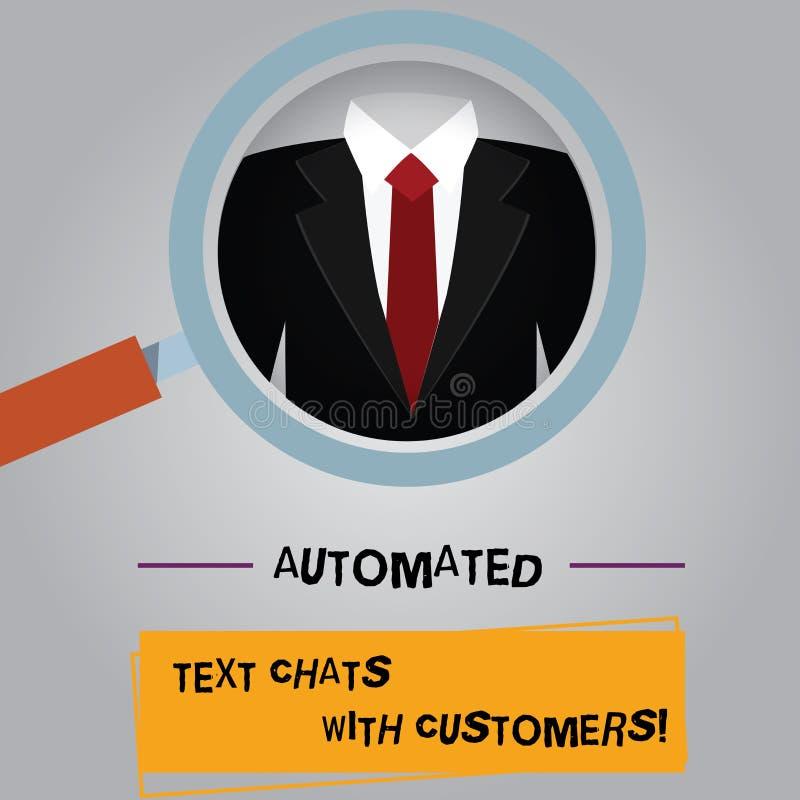 Αυτοματοποιημένες συνομιλίες κειμένων γραφής κείμενο με τους πελάτες Έννοια που σημαίνει την ενίσχυση συνομιλίας BOT τεχνητής νοη απεικόνιση αποθεμάτων