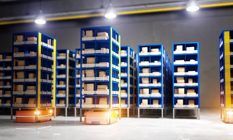 Αυτοματοποιημένη σύγχρονη αποθήκη εμπορευμάτων απεικόνιση αποθεμάτων