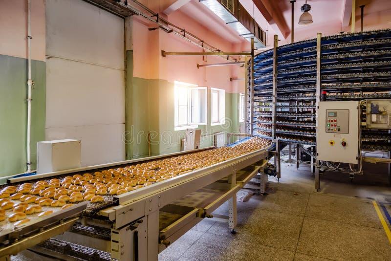Αυτοματοποιημένος γύρω από τη μηχανή μεταφορέων στη γραμμή παραγωγής εργοστασίων, μπισκότων και κέικ τροφίμων αρτοποιείων στοκ εικόνα