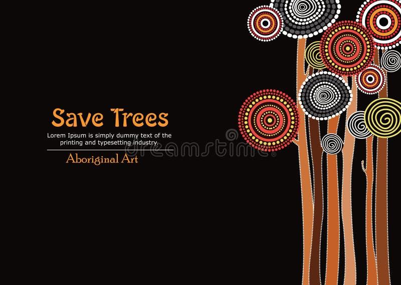Αυτοώμον δέντρο, αυτόχθων διανυσματική ζωγραφική τέχνης με το δέντρο, εκτός από το υπόβαθρο εμβλημάτων δέντρων ελεύθερη απεικόνιση δικαιώματος