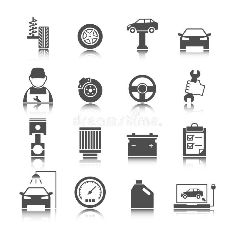 Αυτόματα εικονίδια υπηρεσιών αυτοκινήτων καθορισμένα διανυσματική απεικόνιση