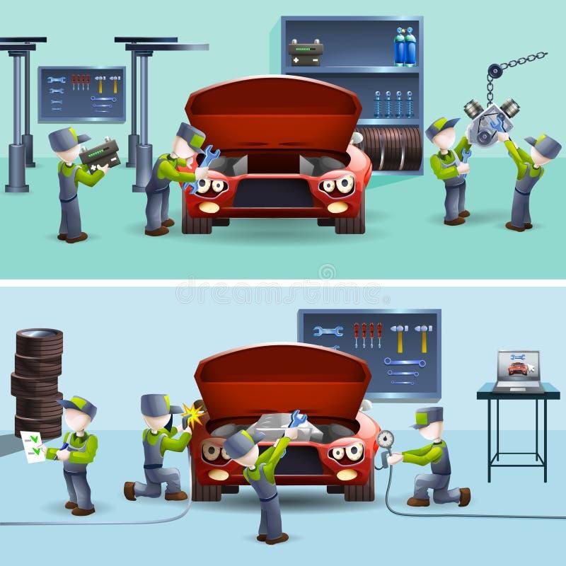 Αυτόματα μηχανικά επίπεδα εμβλήματα υπηρεσιών καθορισμένα διανυσματική απεικόνιση