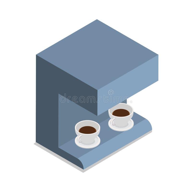 Αυτόματη μηχανή καφέ με δύο φλιτζάνια του καφέ διανυσματική απεικόνιση