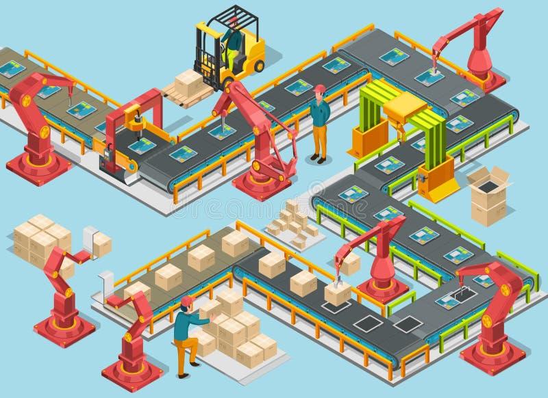 Αυτόματο εργοστάσιο με τη γραμμή μεταφορέων και τα ρομποτικά όπλα Διαδικασία συνελεύσεων διάνυσμα απεικόνιση αποθεμάτων