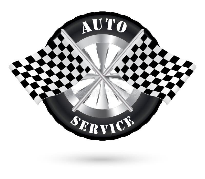 Αυτόματο λογότυπο υπηρεσιών αυτοκινήτων με τον αγώνα της σημαίας απεικόνιση αποθεμάτων