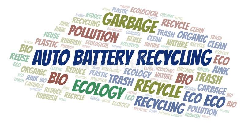 Αυτόματο σύννεφο λέξης ανακύκλωσης μπαταριών απεικόνιση αποθεμάτων