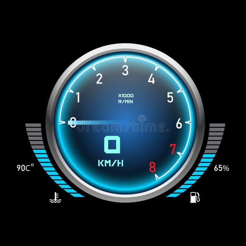 Αυτόματο ταχύμετρο ή ταχύμετρο αυτοκινήτων E διανυσματική απεικόνιση