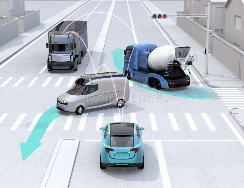 Αυτόνομα αυτοκίνητα που μοιράζονται τις οδηγώντας πληροφορίες αυτοκινήτων ` s για το δρόμο διανυσματική απεικόνιση