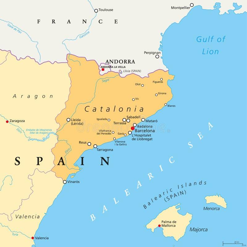 Αυτόνομη κοινότητα της Καταλωνίας του πολιτικού χάρτη της Ισπανίας ελεύθερη απεικόνιση δικαιώματος