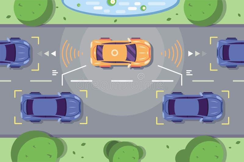 Αυτόνομη οδήγηση αυτοκινήτων στο δρόμο απεικόνιση αποθεμάτων