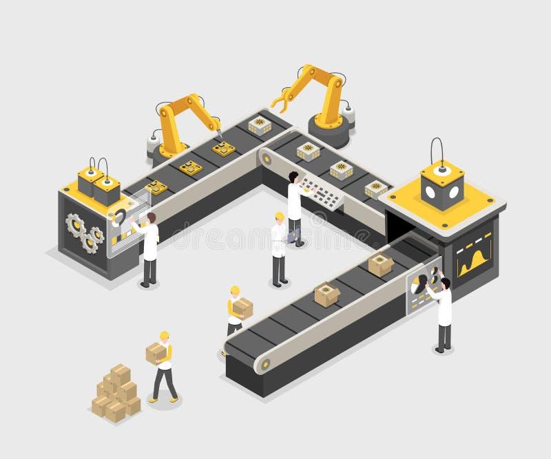 Αυτόνομη, προγραμματισμένη γραμμή παραγωγής με τους εργαζομένους Σύγχρονο εργοστάσιο, διαδικασία παραγωγής βιομηχανίας, διάνυσμα  απεικόνιση αποθεμάτων