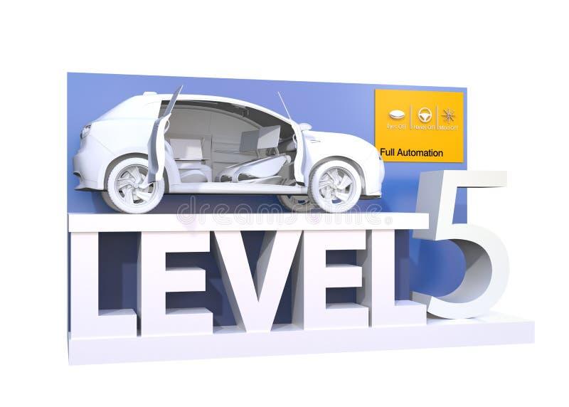 Αυτόνομη ταξινόμηση αυτοκινήτων του επιπέδου 5 διανυσματική απεικόνιση
