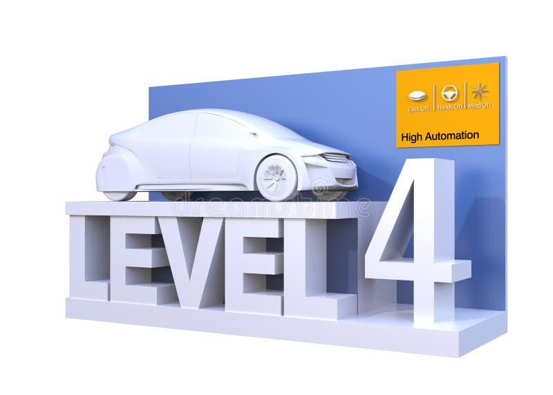 Αυτόνομη ταξινόμηση αυτοκινήτων του επιπέδου 4 διανυσματική απεικόνιση