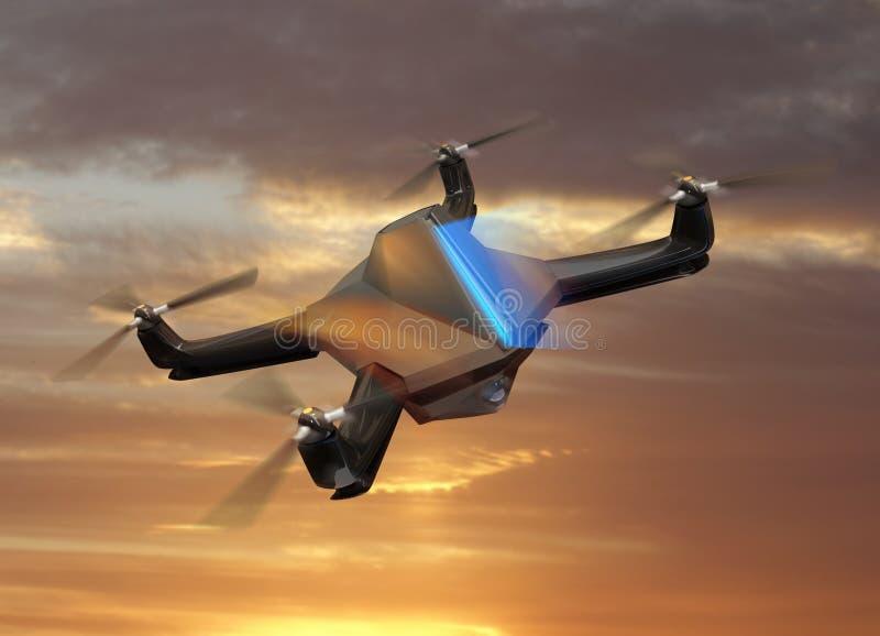 Αυτόνομος τηλεκατευθυνόμενος κηφήνας με τα κάμερα παρακολούθησης που πετούν στον ουρανό ηλιοβασιλέματος ελεύθερη απεικόνιση δικαιώματος