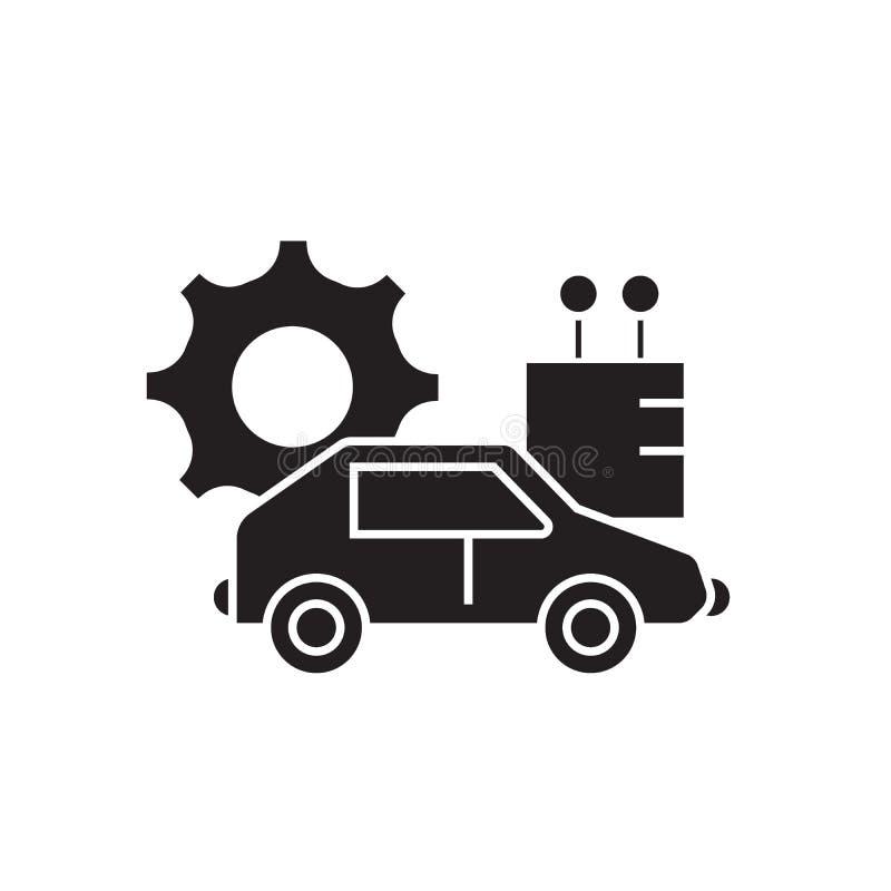 Αυτόνομο εικονίδιο έννοιας αυτοκινήτων μαύρο διανυσματικό Αυτόνομη επίπεδη απεικόνιση αυτοκινήτων, σημάδι ελεύθερη απεικόνιση δικαιώματος
