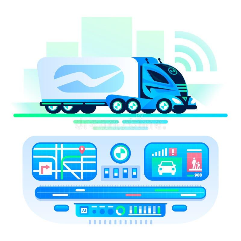 Αυτόνομο μόνος-οδηγώντας φορτηγό στο δρόμο Κέντρο μεταφορών τηλεχειρισμού Τηλεκατευθυνόμενο φορτηγό, μελλοντικό φουτουριστικό αυτ διανυσματική απεικόνιση