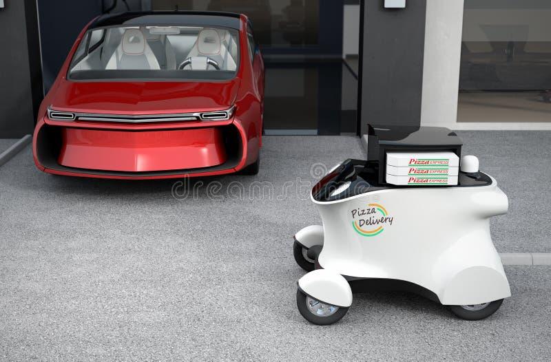 Αυτόνομο ρομπότ παράδοσης μπροστά από το γκαράζ που περιμένει την πίτσα επιλογής απεικόνιση αποθεμάτων