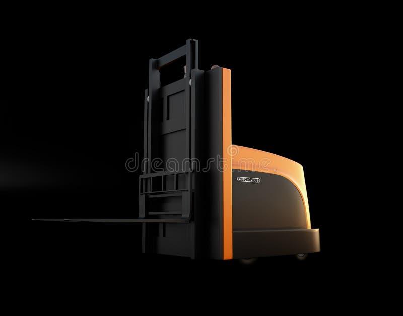 Αυτόνομο forklift που απομονώνεται στο μαύρο υπόβαθρο ελεύθερη απεικόνιση δικαιώματος