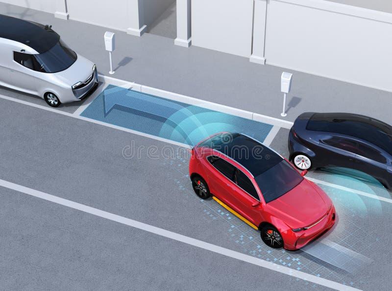 Αυτόνομο SUV είναι παράλληλος χώρος στάθμευσης στο χώρο στάθμευσης στην άκρη του δρόμου διανυσματική απεικόνιση
