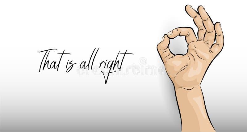 Αυτός είναι εντάξει Χειρονομία χεριών σε ένα ελαφρύ υπόβαθρο ελεύθερη απεικόνιση δικαιώματος