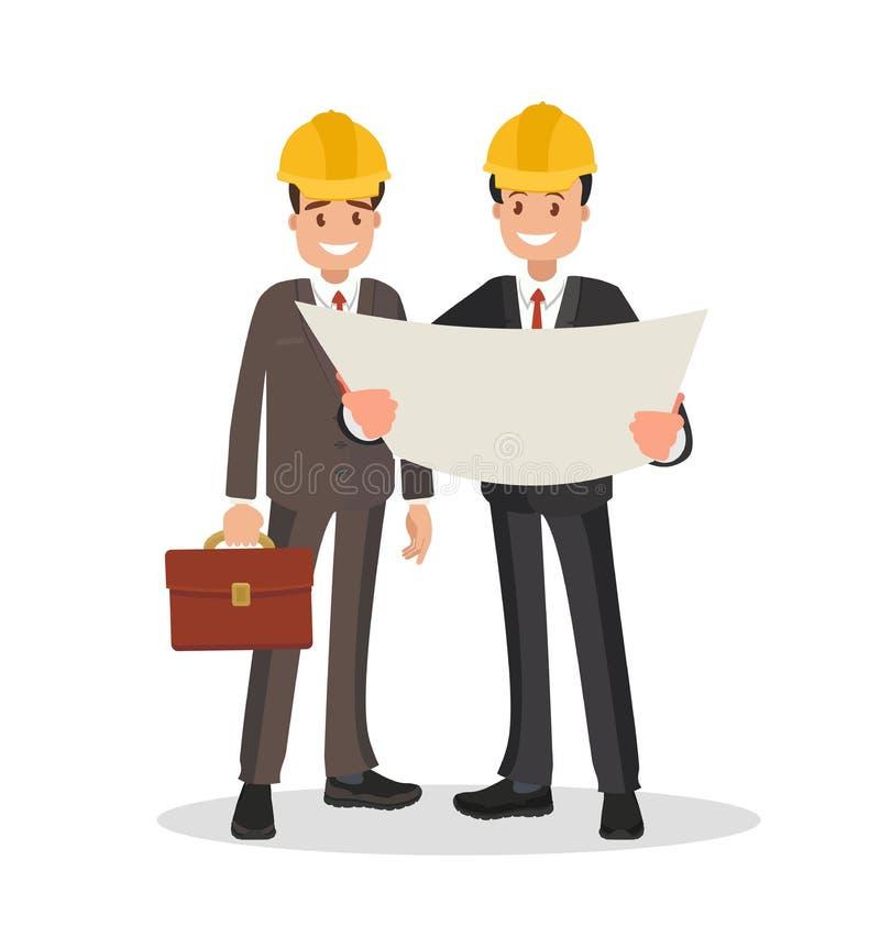 Αυτός πελάτης και ο ανάδοχος Τα άτομα έντυσαν στα επιχειρησιακά κοστούμια και τα κράνη συζητώντας το πρόγραμμα απεικόνιση αποθεμάτων