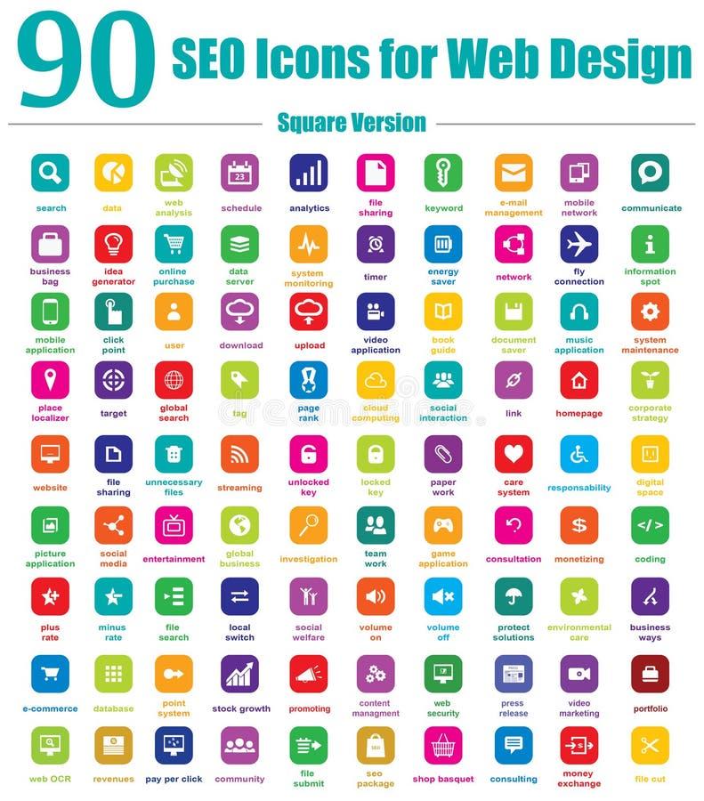 90 εικονίδια SEO για το σχέδιο Ιστού - τετραγωνική έκδοση ελεύθερη απεικόνιση δικαιώματος
