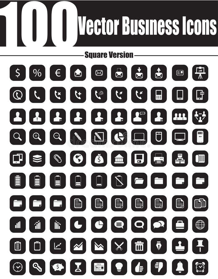 100 διανυσματικά επιχειρησιακά εικονίδια - τετραγωνική έκδοση διανυσματική απεικόνιση