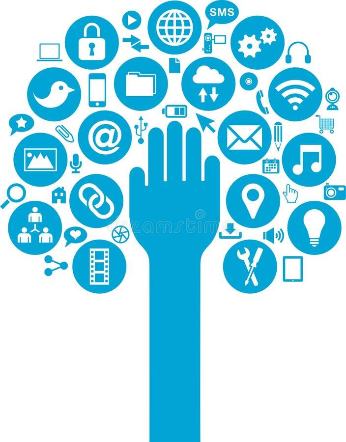 Τα κοινωνικά μέσα και τα επιχειρησιακά εικονίδια με παραδίδουν απεικόνιση αποθεμάτων