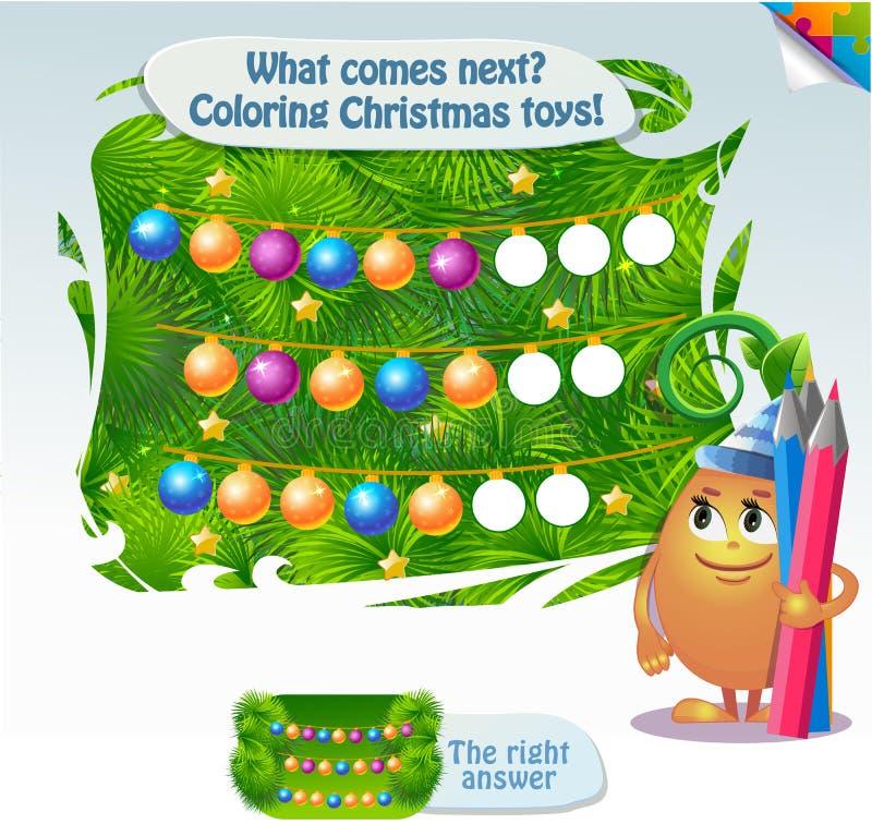 Αυτό που έρχεται έπειτα χρωματίζοντας παιχνίδια Χριστουγέννων διανυσματική απεικόνιση