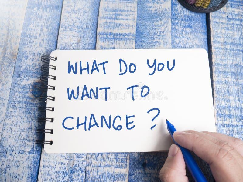 Αυτό που εσείς θέλει να αλλάξει, κινητήρια έννοια αποσπασμάτων λέξεων στοκ εικόνες