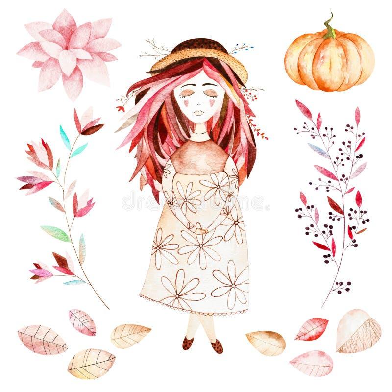 Αυτό το σύνολο φθινοπώρου περιέλαβε το γλυκό κορίτσι, φύλλα φθινοπώρου, κλάδοι, λουλούδι, όμορφη κολοκύθα ελεύθερη απεικόνιση δικαιώματος