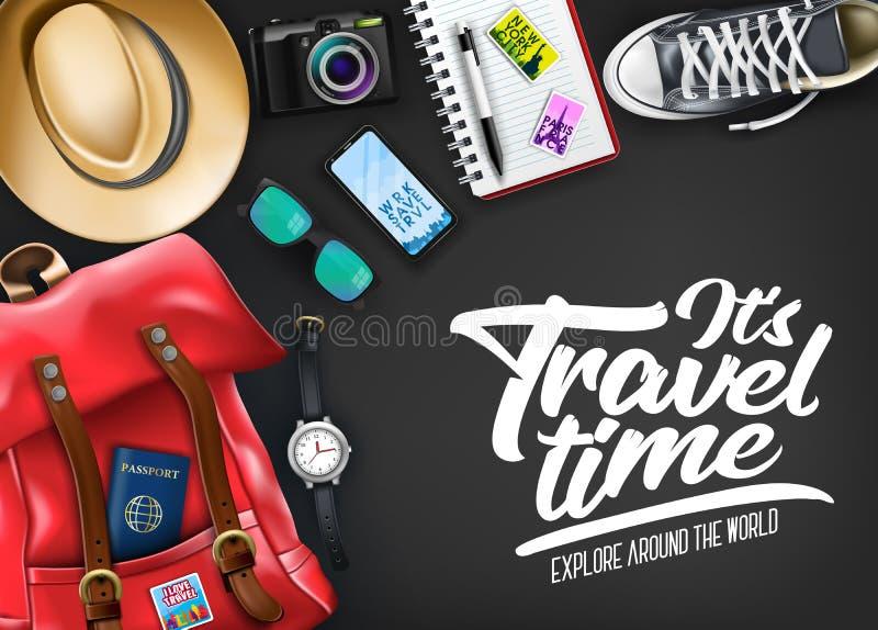 Αυτό χρονική τυπογραφία ταξιδιού ` s με το ρεαλιστικό καπέλο, διαβατήριο, κάμερα, τηλέφωνο απεικόνιση αποθεμάτων