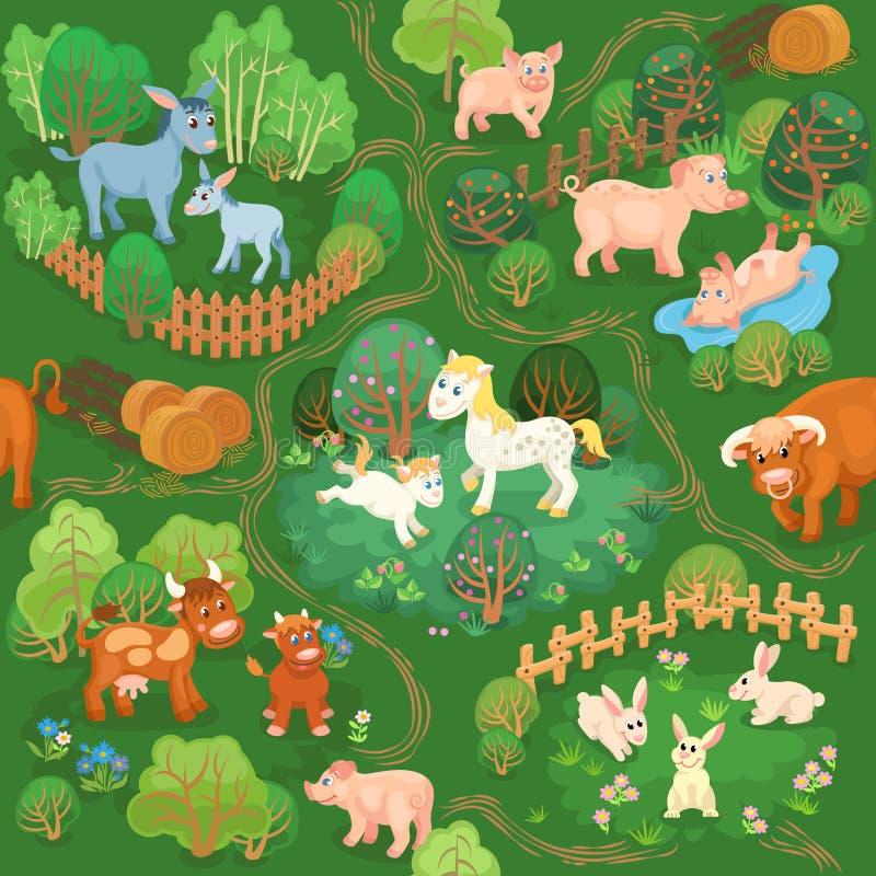 Αυλή με τα κατοικίδια ζώα, τα δέντρα και τα μονοπάτια απεικόνιση αποθεμάτων