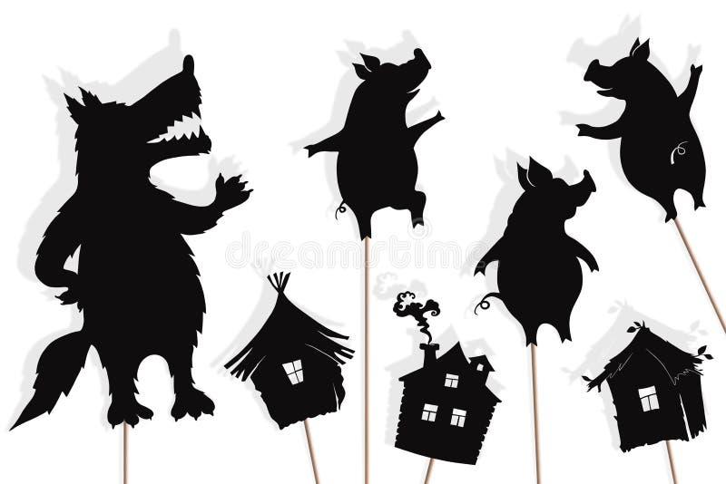 Αφήγηση τριών μικρή χοίρων, απομονωμένες μαριονέτες σκιών διανυσματική απεικόνιση