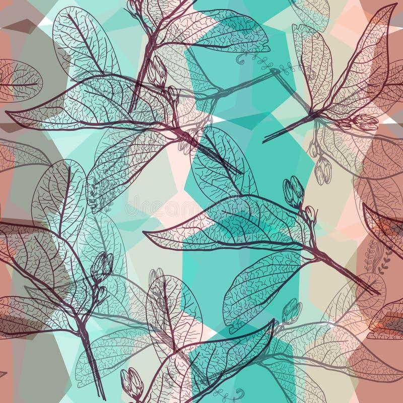 Αφήνει τα περιγράμματα, φωτεινό καφετί μπεζ πράσινο τυρκουάζ σύγχρονο καθιερώνον τη μόδα floral άνευ ραφής σχέδιο ουράνιων τόξων, ελεύθερη απεικόνιση δικαιώματος