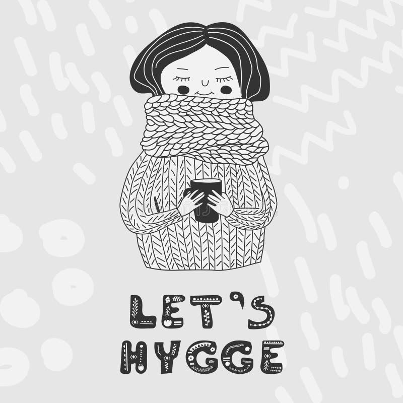 Αφήνει hygge το μονοχρωματικό κορίτσι καρτών στο πουλόβερ διανυσματική απεικόνιση