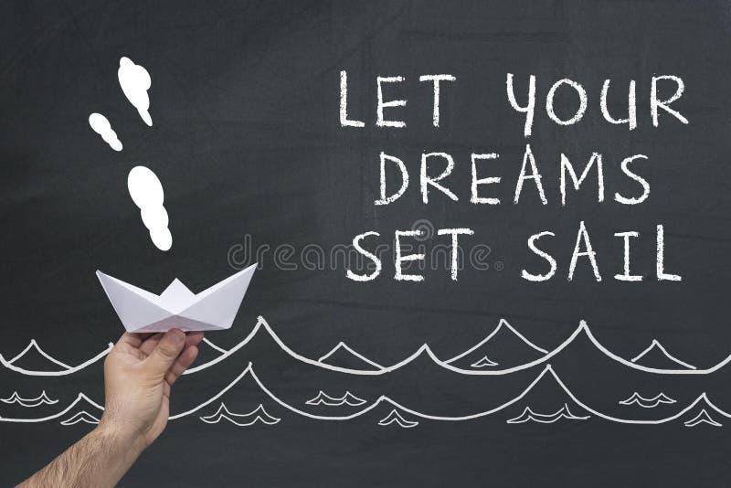 Αφήστε τα όνειρά σας καθορισμένα το πανί στοκ φωτογραφίες με δικαίωμα ελεύθερης χρήσης