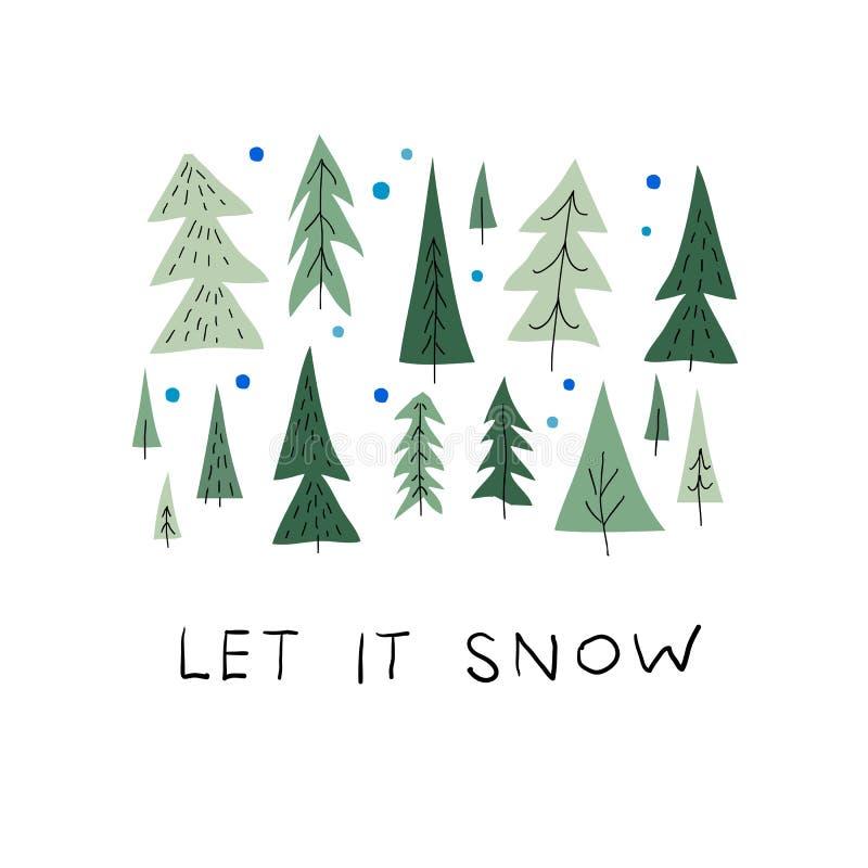 Αφήστε την κάρτα χειμερινής εποχής χριστουγεννιάτικων δέντρων χιονιού απεικόνιση αποθεμάτων