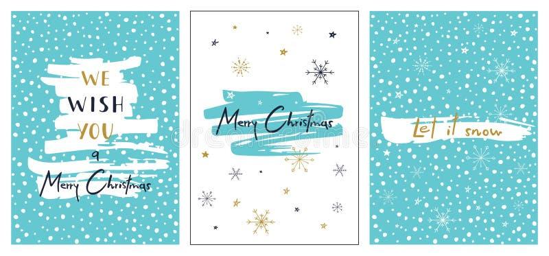 αφήστε το χιόνι Διανυσματικό πρότυπο για τις προσκλήσεις, χαιρετώντας και τα συγχαρητήρια Χειμερινές αφίσες καθορισμένες διανυσματική απεικόνιση