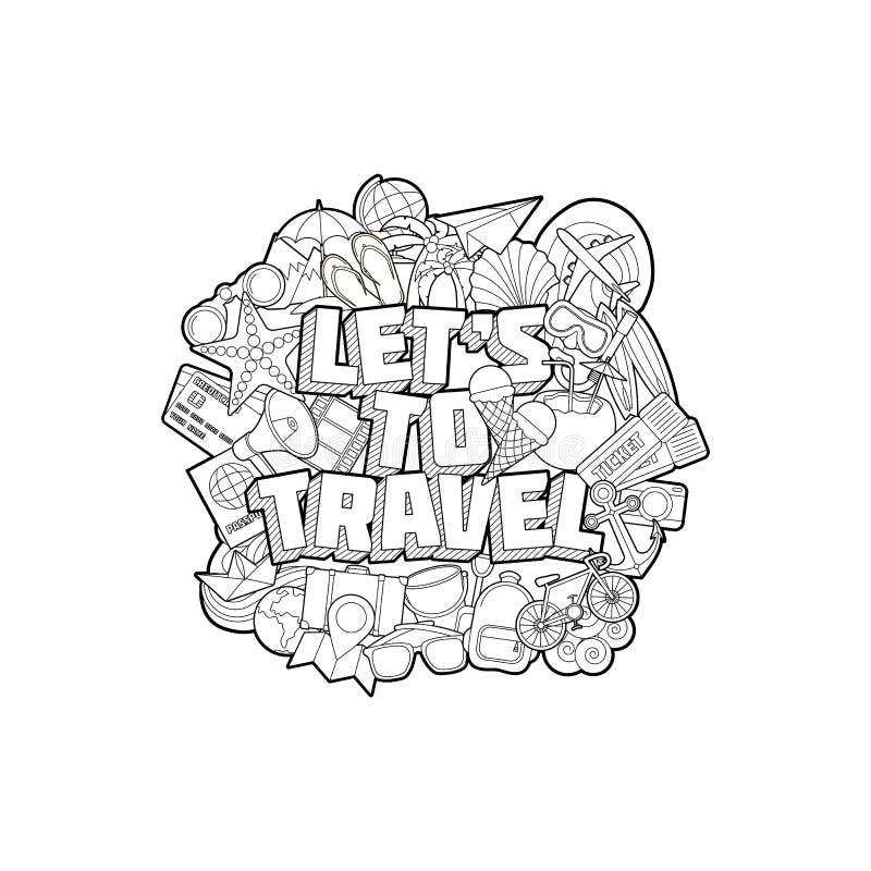 Αφήστε ` s για να ταξιδεψετε - δώστε το σκίτσο στοιχείων εγγραφής και Doodles ελεύθερη απεικόνιση δικαιώματος
