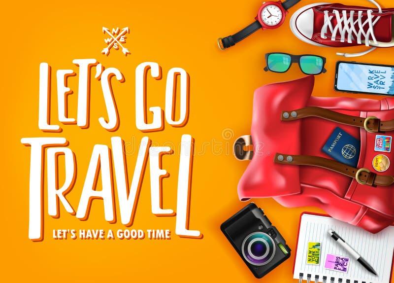 Αφήστε ` s να πάει ταξίδι περνά καλά με τα ρεαλιστικά τρισδιάστατα στοιχεία όπως η τσάντα, κάμερα, κινητό τηλέφωνο διανυσματική απεικόνιση