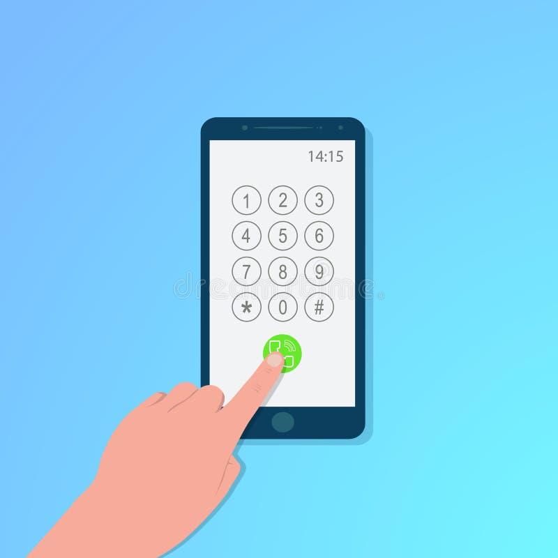 Αφή δάχτυλων της οθόνης smartphone με την οθόνη πινάκων, μπλε υπόβαθρο, διάνυσμα διανυσματική απεικόνιση