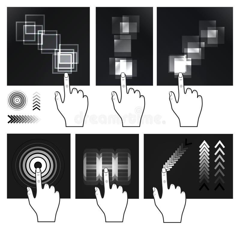 αφή οθόνης διαπροσωπειών χειρονομίας διανυσματική απεικόνιση