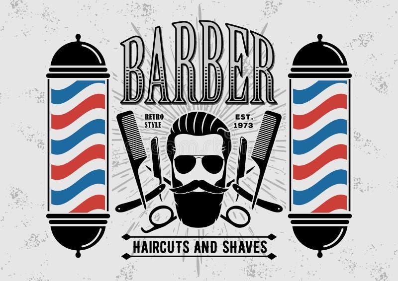 Αφίσα, έμβλημα, ετικέτα, διακριτικό, ή έμβλημα Barbershop στο γκρίζο υπόβαθρο με τον πόλο κουρέων στο εκλεκτής ποιότητας ύφος διανυσματική απεικόνιση