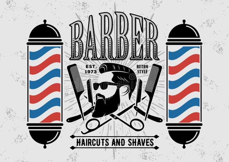 Αφίσα, έμβλημα, ετικέτα, διακριτικό, ή έμβλημα Barbershop στο γκρίζο υπόβαθρο με τον πόλο κουρέων στο εκλεκτής ποιότητας ύφος ελεύθερη απεικόνιση δικαιώματος