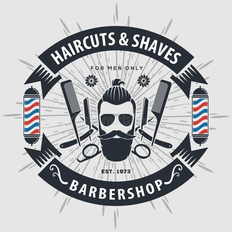 Αφίσα, έμβλημα, ετικέτα, διακριτικό, ή έμβλημα Barbershop στο γκρίζο υπόβαθρο με τον πόλο κουρέων στο εκλεκτής ποιότητας ύφος επί ελεύθερη απεικόνιση δικαιώματος